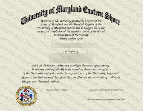 Usa University Of Maryland Eastern Shore Free Sample From Phonydiploma