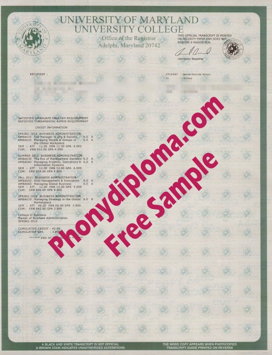 Usa University Of Maryland University College Actual Match Trancript Free Sample From Phonydiploma