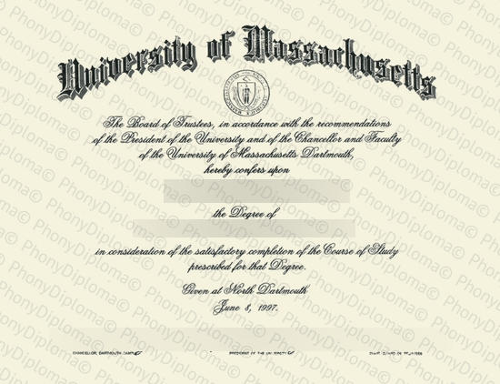 Usa University Of Massachusetts Darthmouth Free Sample From Phonydiploma