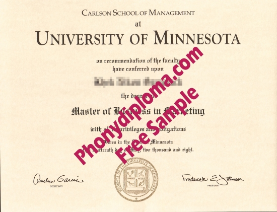 Usa University Of Minnesota Carlson Free Sample From Phonydiploma