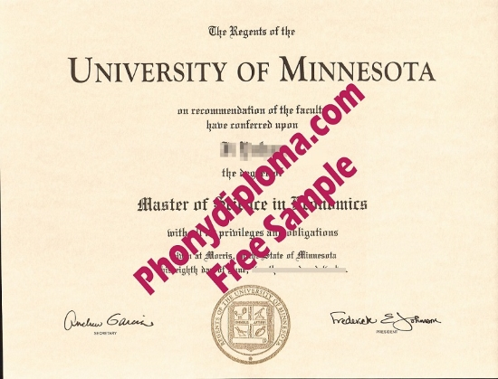 Usa University Of Minnesota Morris Free Sample From Phonydiploma