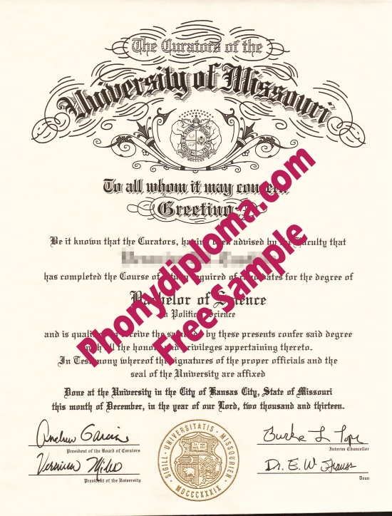 Usa University Of Missouri Kansas City Free Sample From Phonydiploma