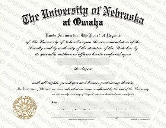 Usa University Of Nebraska At Omaha Free Sample From Phonydiploma