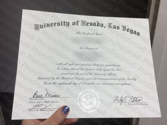Usa University Of Nevada Las Vegas Free Sample From Phonydiploma