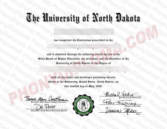 Usa University Of North Dakota Free Sample From Phonydiploma