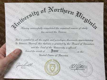 Usa University Of Northern Virginia Free Fake Diploma Sample