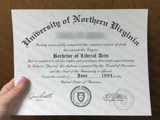 Usa University Of Northern Virginia Free Sample From Phonydiploma