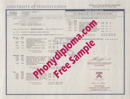 Usa University Of Pennsylvania Actual Match Transcript Free Sample From Phonydiploma