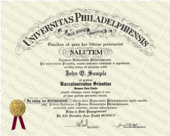Usa University Of Philadelphia Free Sample From Phonydiploma