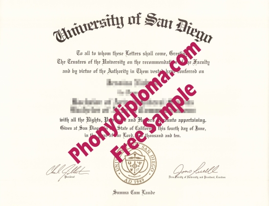 Usa University Of San Diego Free Sample From Phonydiploma
