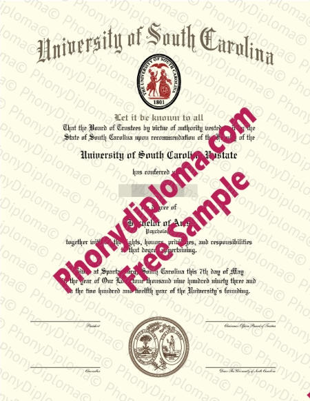 Usa University Of South Carolina Free Fake Diploma Sample