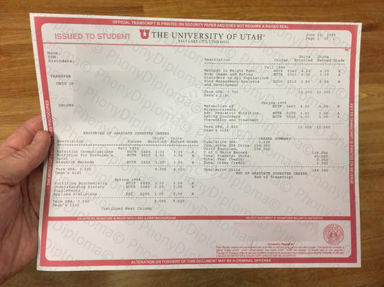 Usa University Of Utah Actual Match Transcript Free Sample From Phonydiploma