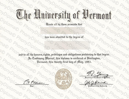 Usa University Of Vermont Free Sample From Phonydiploma