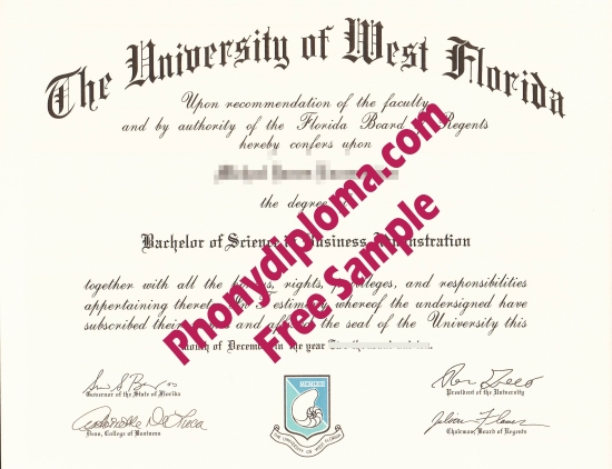 Usa University Of West Florida Free Sample From Phonydiploma