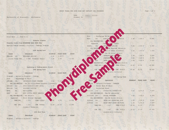 Usa University Of Wisconsin Whitewater Actual Match Transcript Free Sample From Phonydiploma
