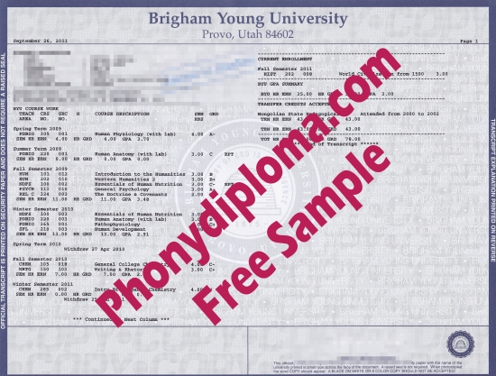 Usa Utah Brigham Young University Actual Match Transcripts Free Sample From Phonydiploma