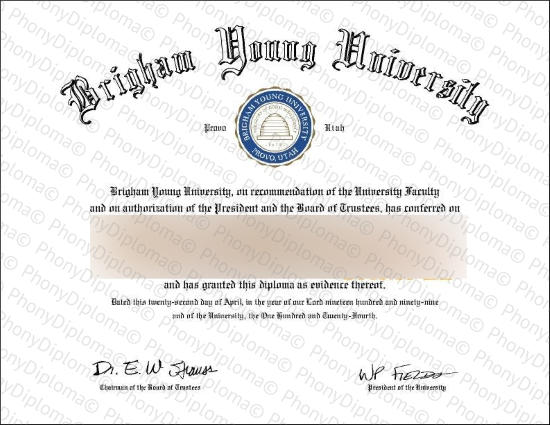 Usa Utah Brigham Young University Free Sample From Phonydiploma