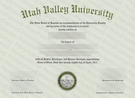 Usa Utah Valley University Free Sample From Phonydiploma