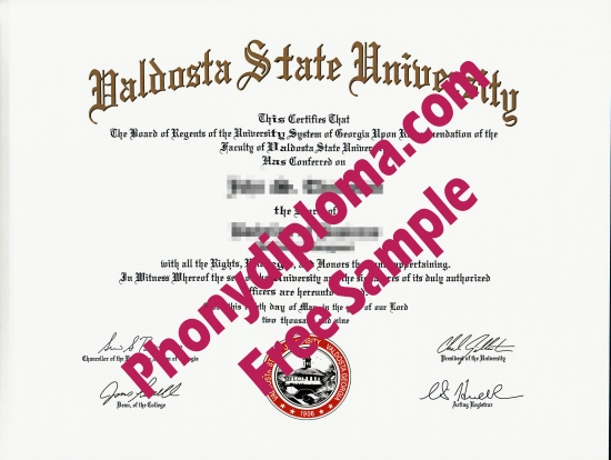 Usa Valdosta State University Free Sample From Phonydiploma