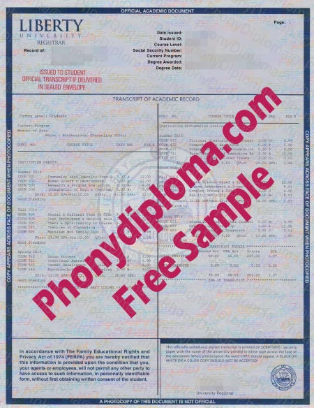 Usa Virginia Liberty University Actual Match Transcript Free Sample From Phonydiploma (2)