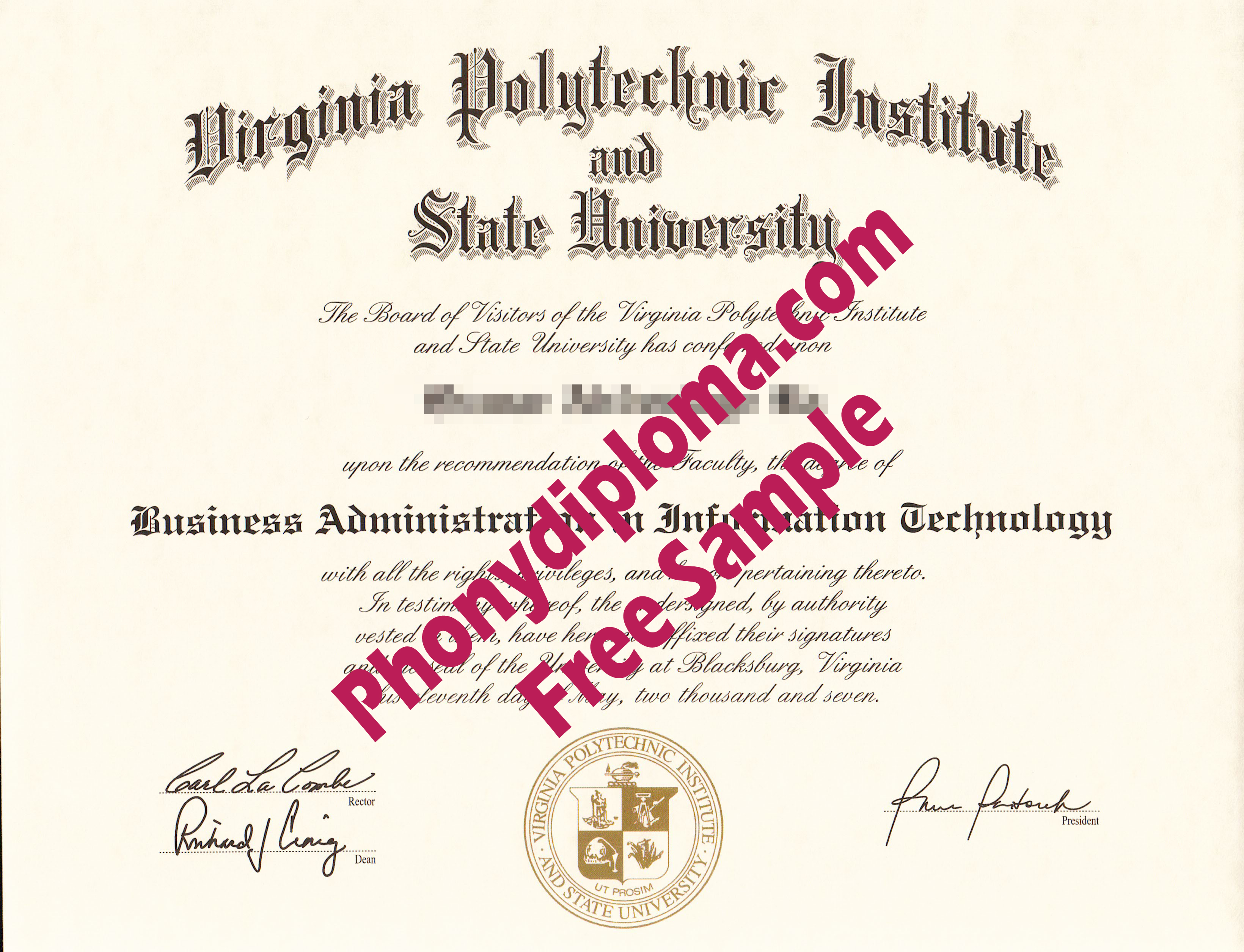 Usa Virginia Polytechnic Institute And State University Free Sample From Phonydiploma