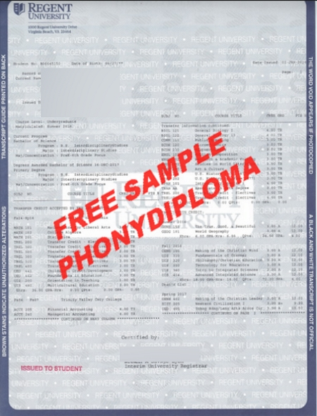 Usa Virginia Regent University Actual Match Transcript Free Sample From Phonydiploma
