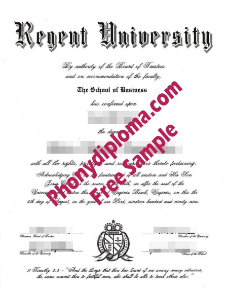 Usa Virginia Regent University Diploma Free Sample From Phonydiploma