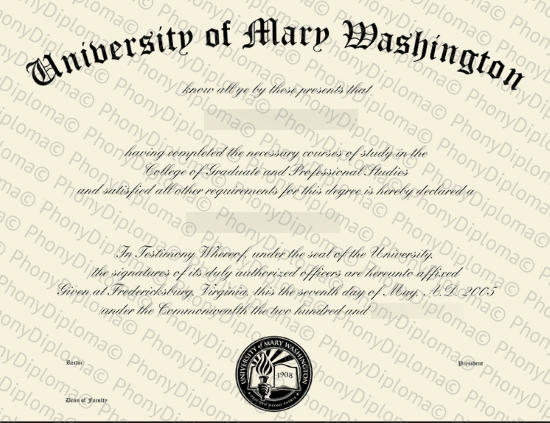 Usa Virginia University Of Mary Washington Free Sample From Phonydiploma