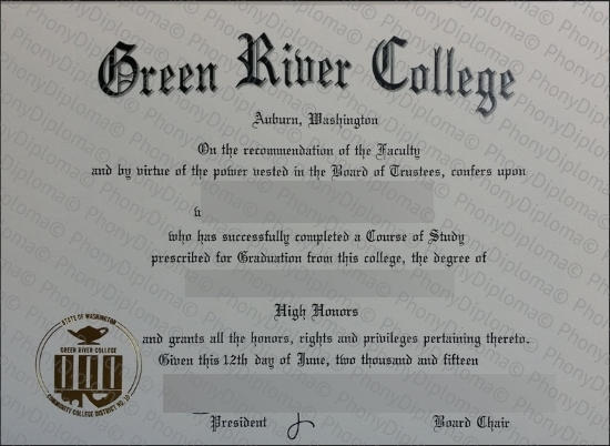 Usa Washington Green River College Free Sample From Phonydiploma