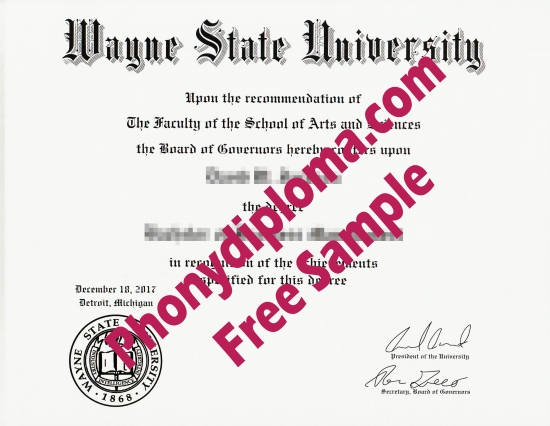 Usa Wayne State University Free Sample From Phonydiploma