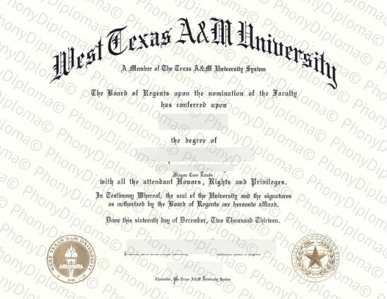 Usa West Texas A&M University Free Sample From Phonydiploma