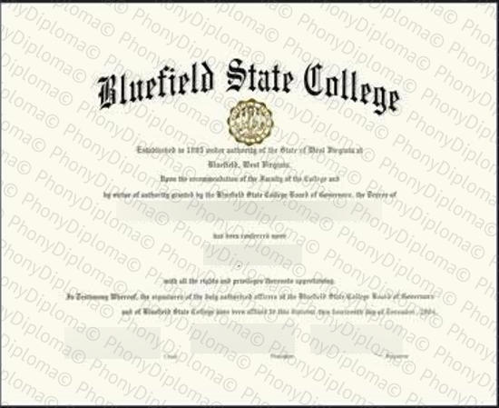 Usa West Virginia Bluefield State College Free Sample From Phonydiploma