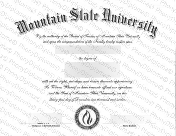 Usa West Virginia Mountain State University Free Sample From Phonydiploma