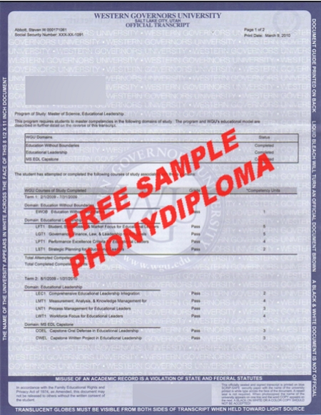 Usa Western Governors University Actual Match Transcript Free Sample From Phonydiploma