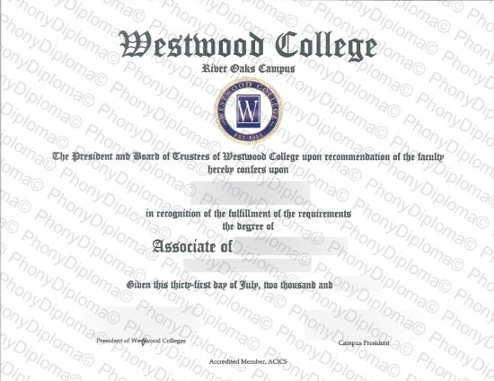 Usa Westwood College Fake Diploma From Phonydiploma