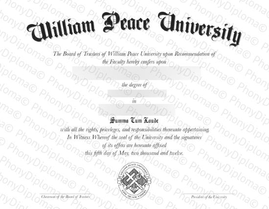Usa William Peace University Free Sample From Phonydiploma