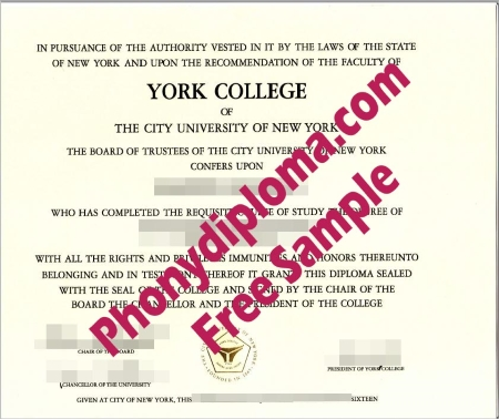 Usa York College Of The City University Of New York Free Sample From Phonydiploma