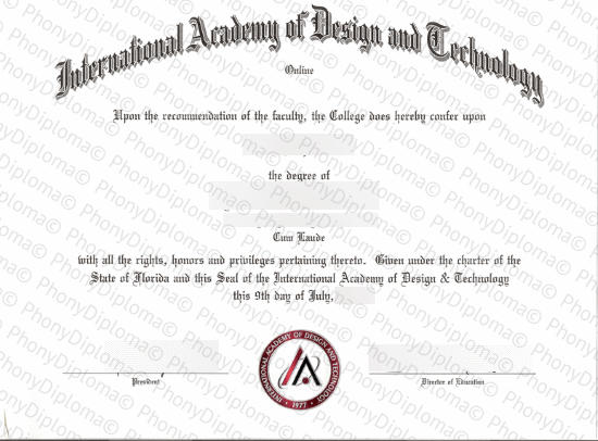 Usa And Canada International Academy Of Design And Technology Free Sample From Phonydiploma