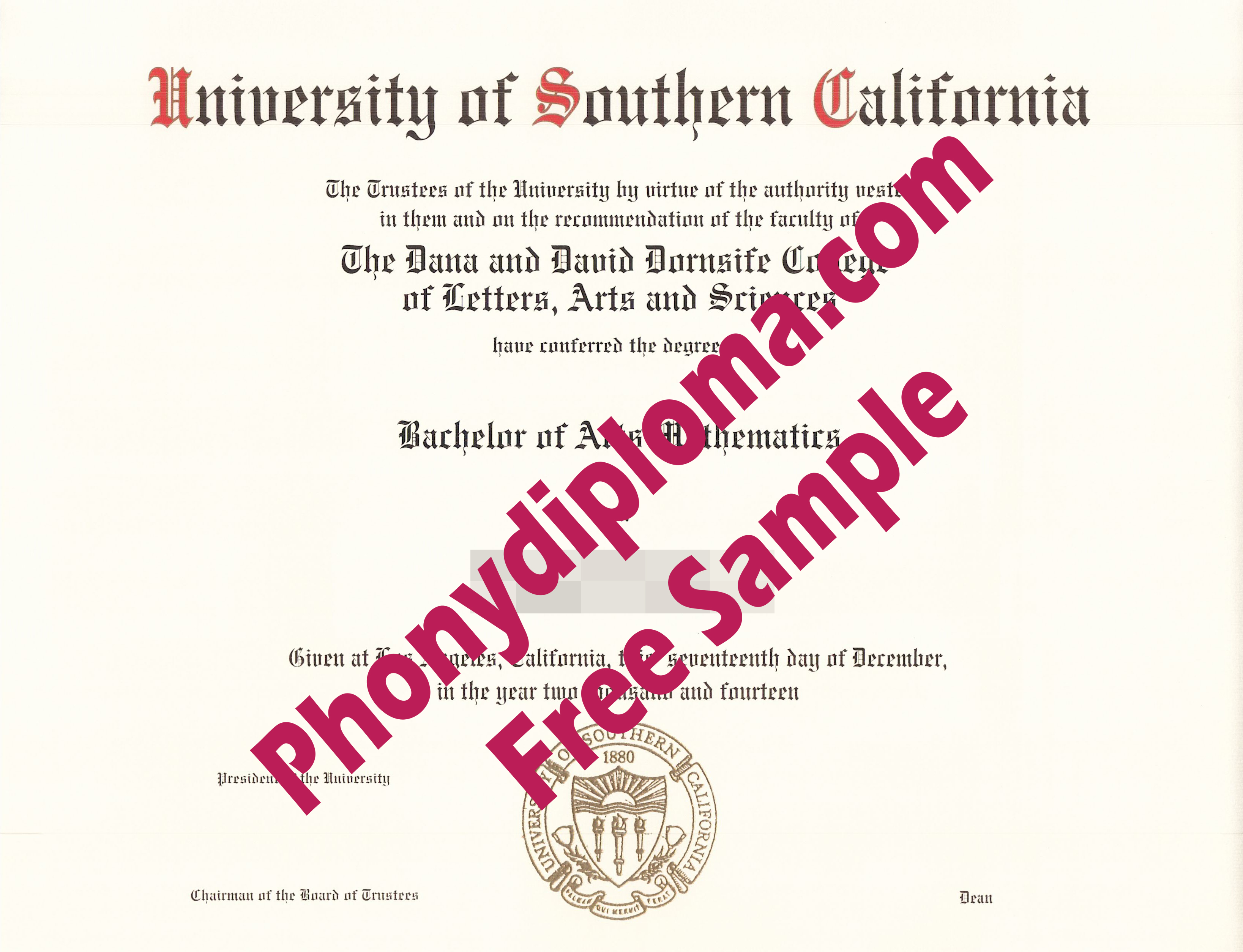 Usc University Of Southern California Free Sample From Phonydiploma