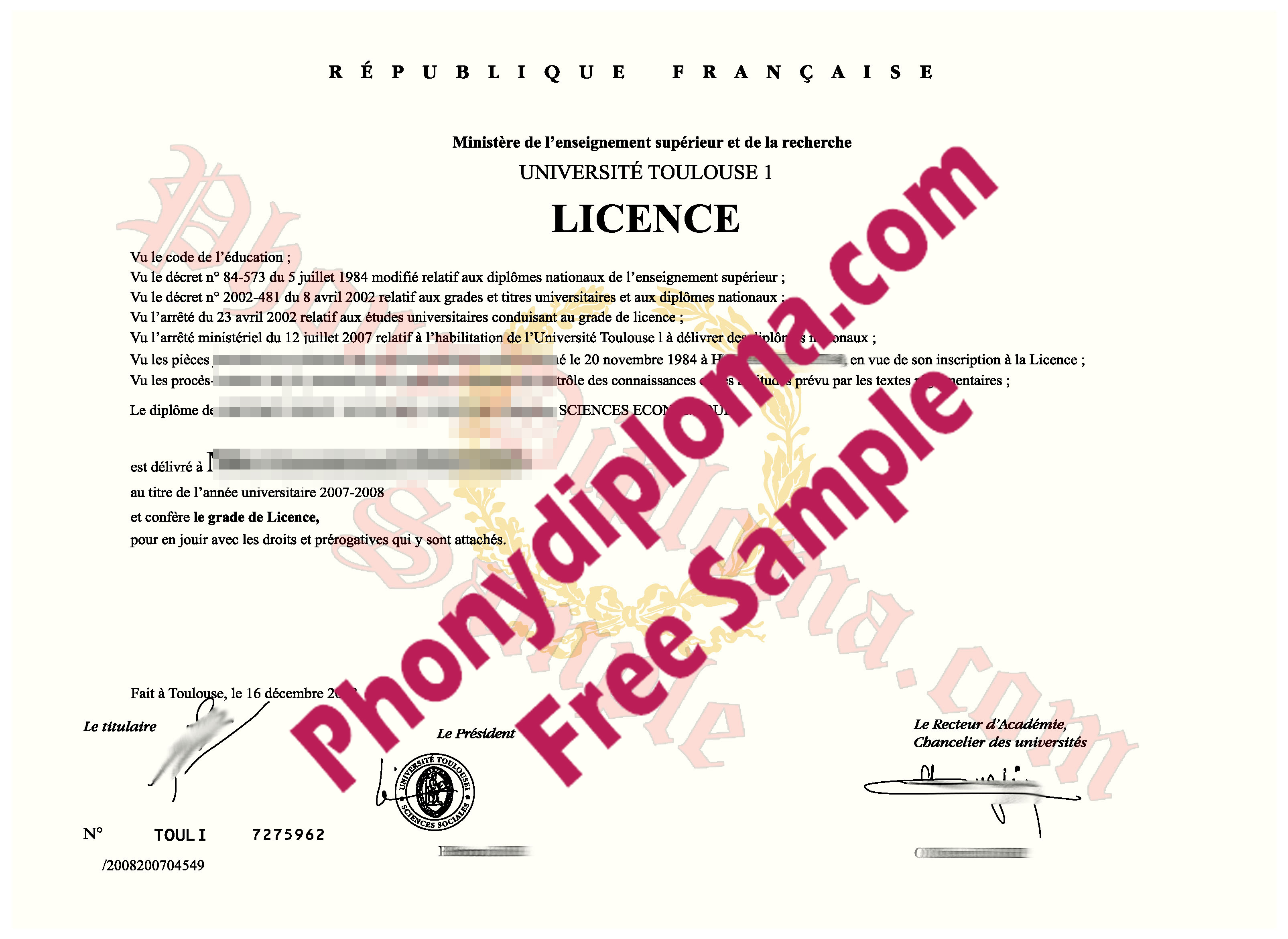 Univ  Toulouse Free Sample From Phonydiploma