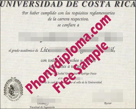 Universidad De Costa Rica University Free Sample From Phonydiploma