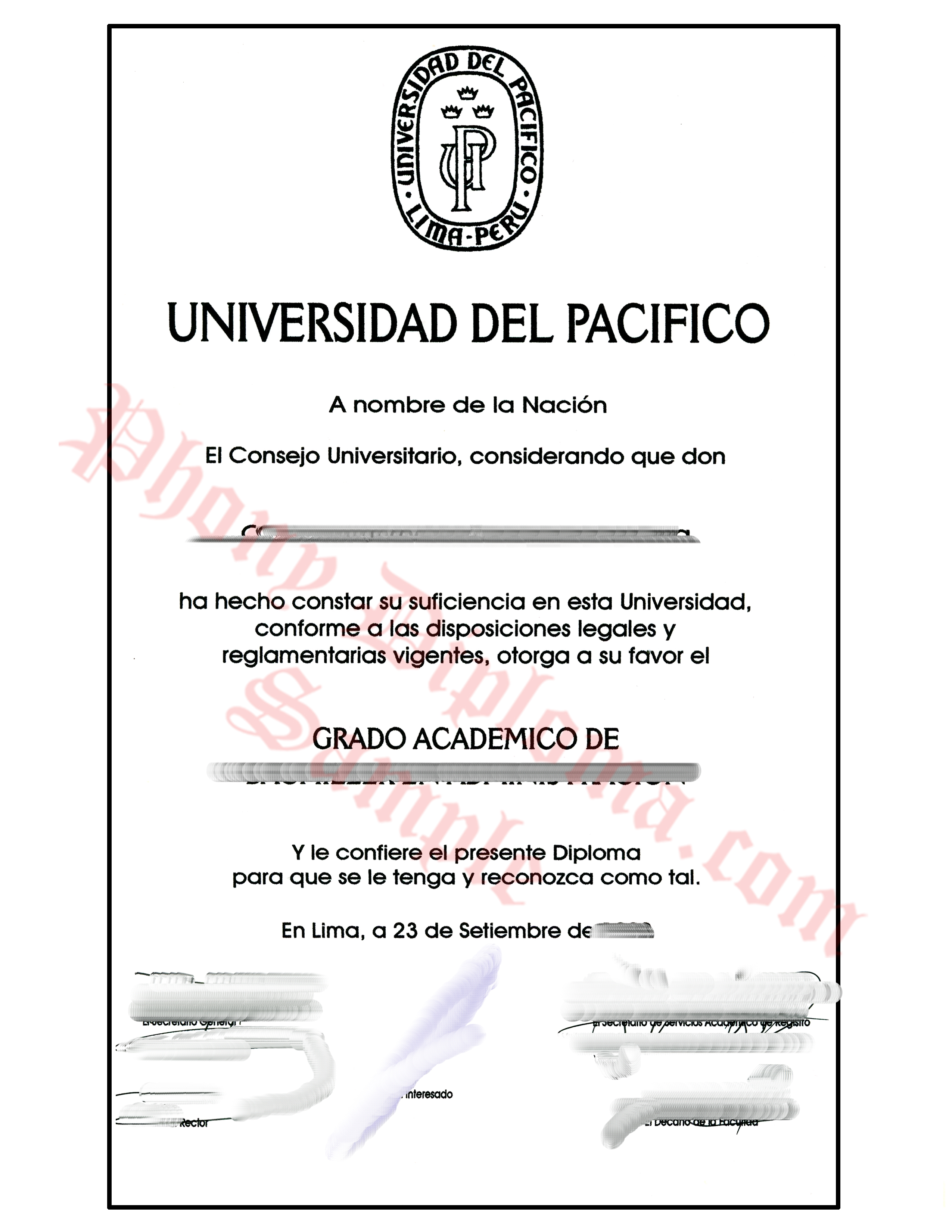Universidad Del Pacifico Peru Free Sample From Phonydiploma