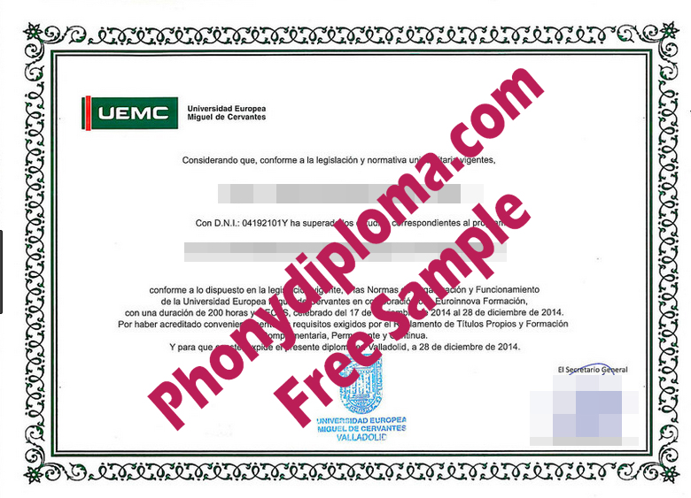 Universidad Europea Miguel De Cervantes Free Sample From Phonydiploma