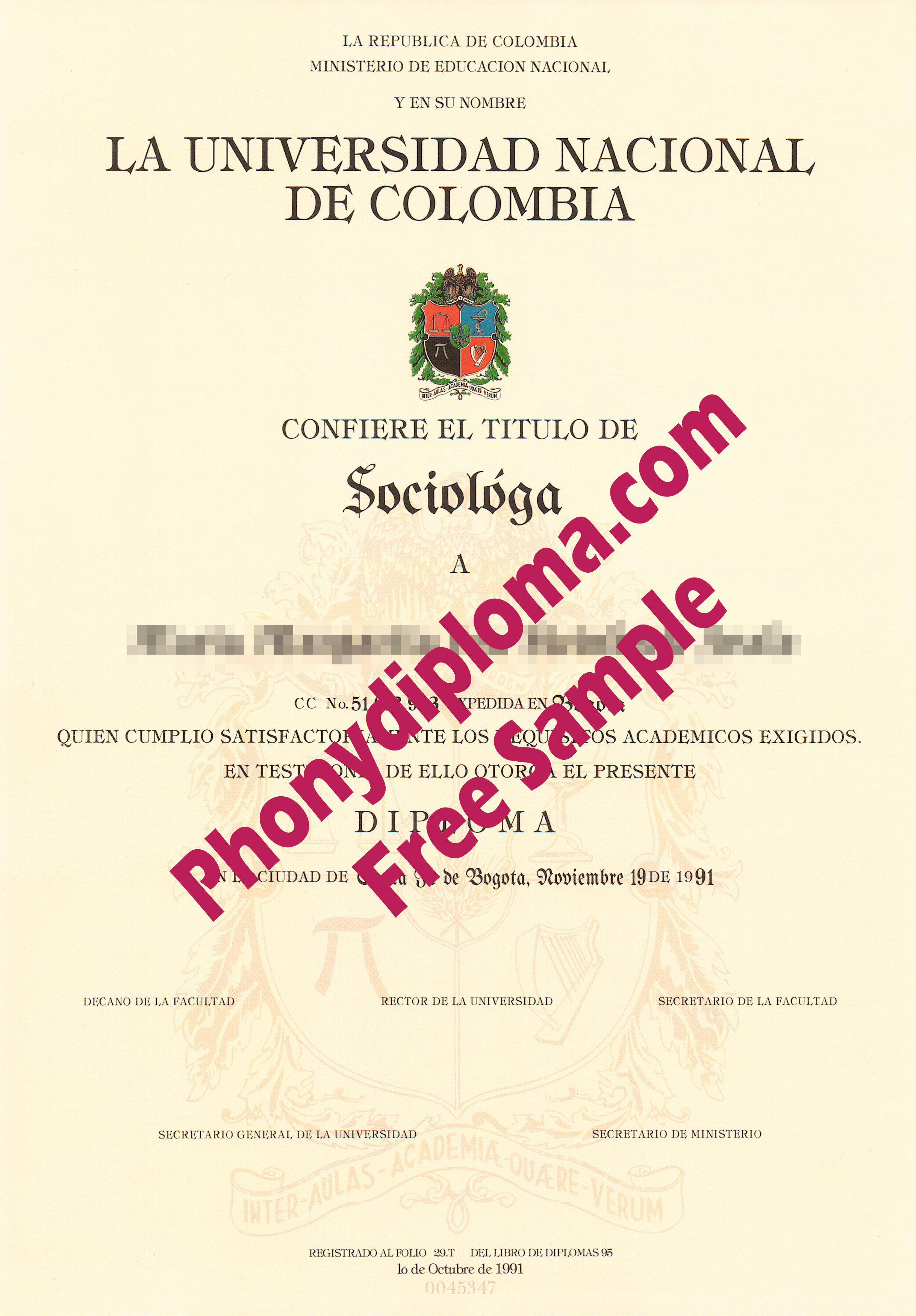 Universidad Nacional De Colombia Free Sample From Phonydiploma
