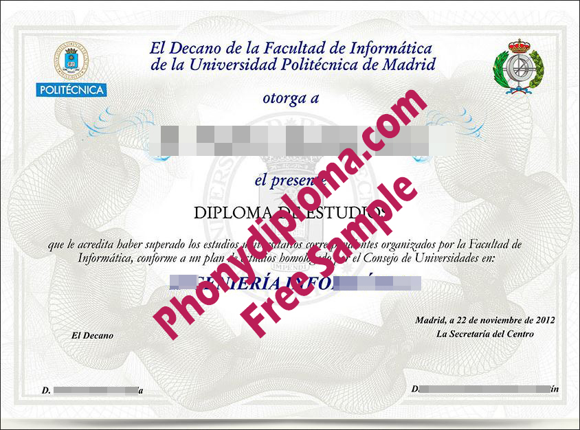 Universidad Politecnica De Madrid Free Sample From Phonydiploma