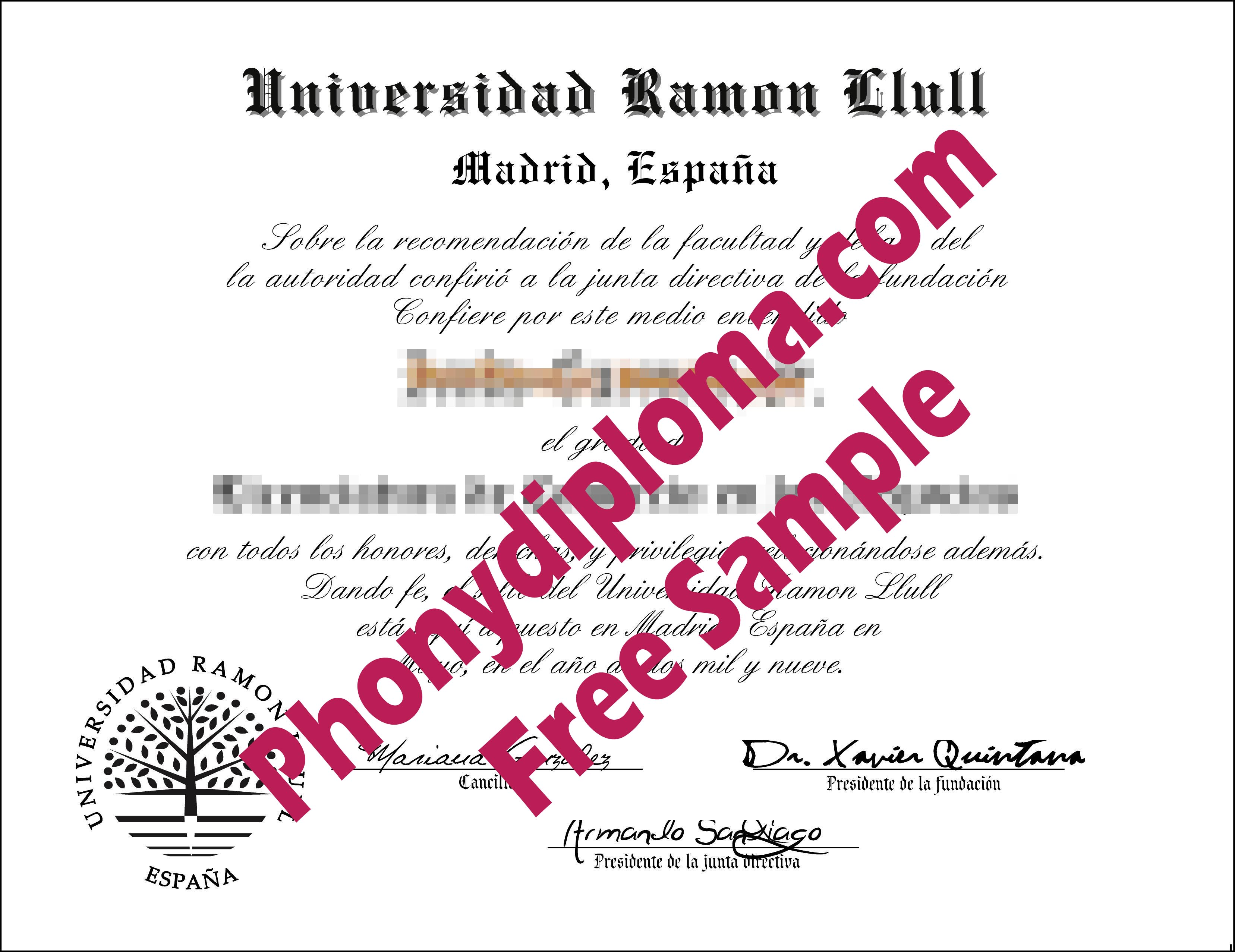 Universidad Ramon Llull Free Sample From Phonydiploma
