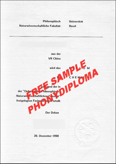 Universität Basel Diploma Free Sample From Phonydiploma