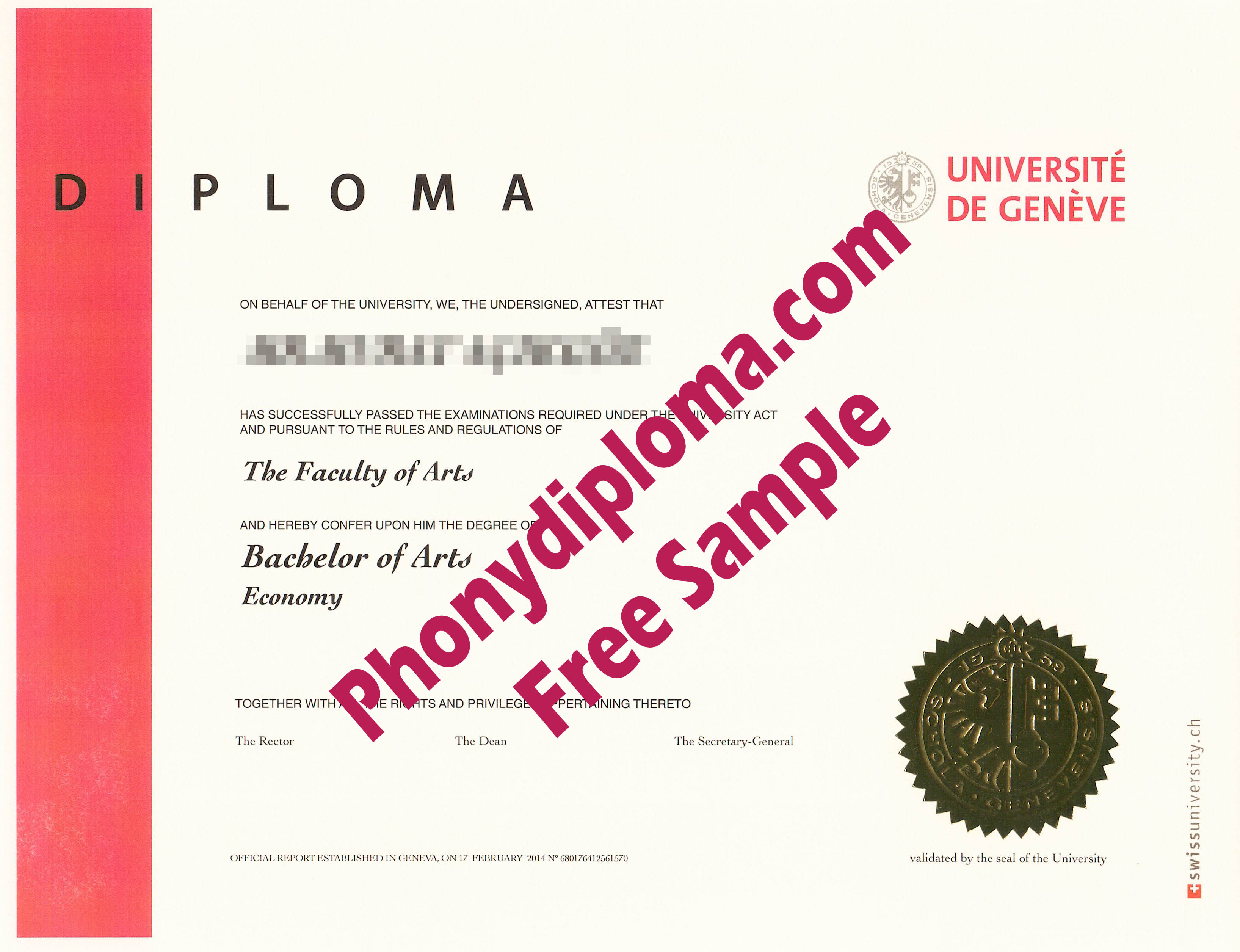 Universite De Geneve Free Sample From Phonydiploma