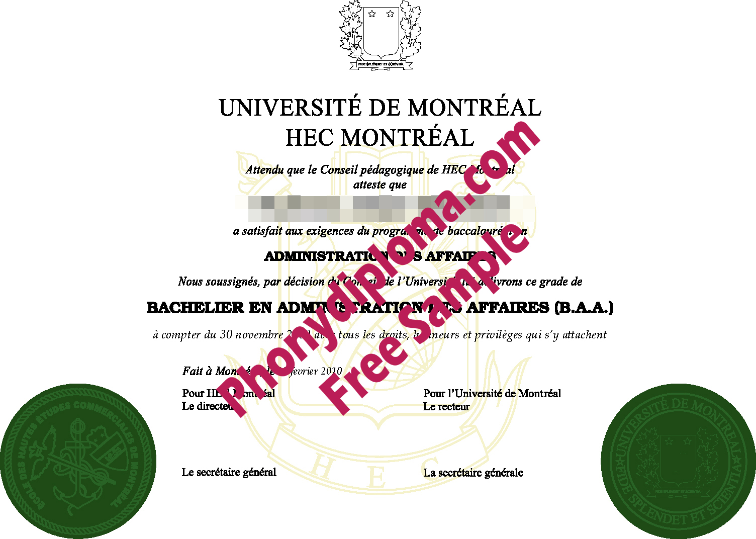 Universite De Montreal Hec Montreal Free Sample From Phonydiploma