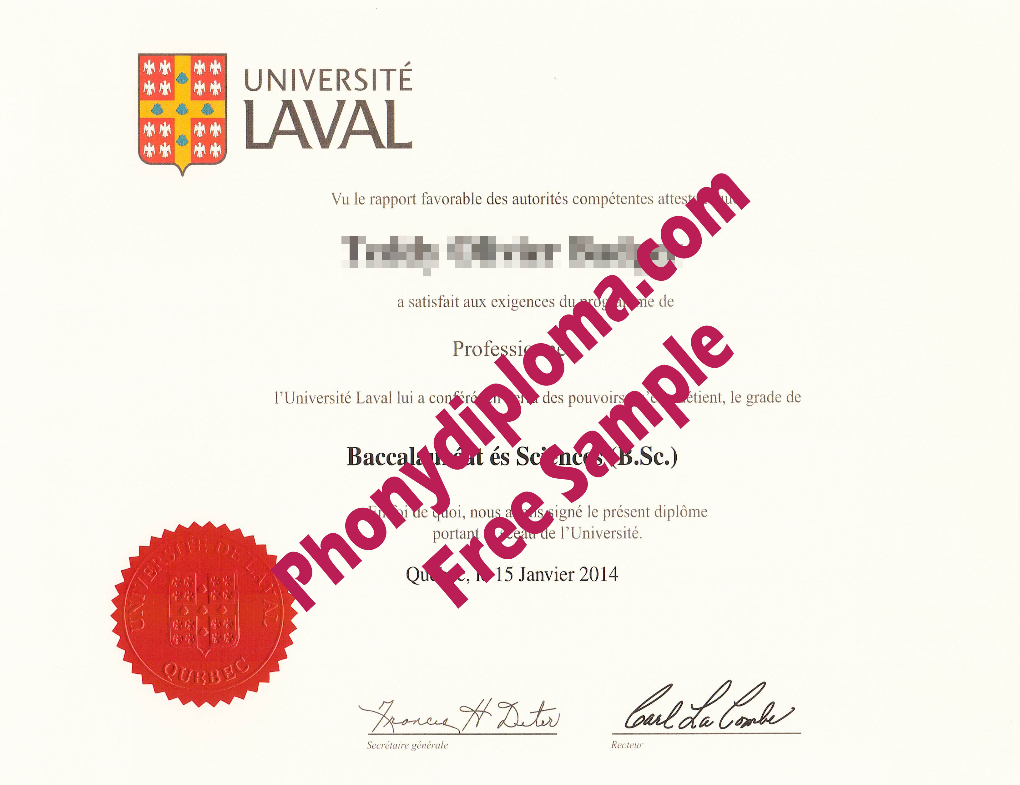 Universite Laval Free Sample From Phonydiploma